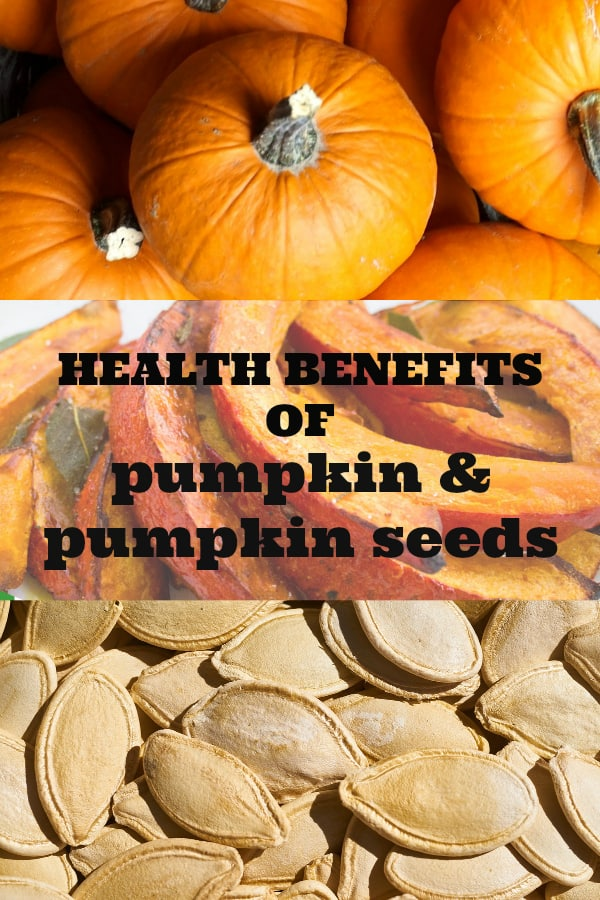 pumpkins cooked pumpkin and pumpkin seeds with text overlay health benefits of pumpkin and pumpkin seeds
