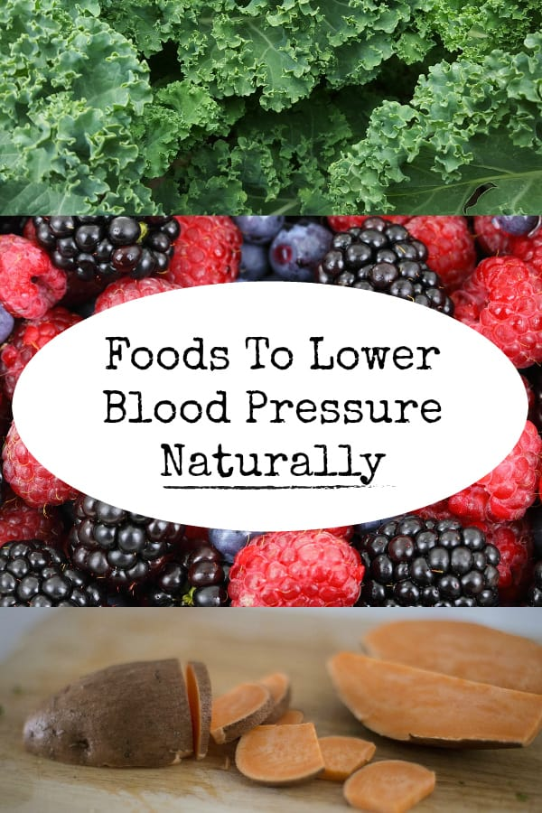 kale berries sweet potato on cutting board with text overlay foods to lower blood pressure naturally