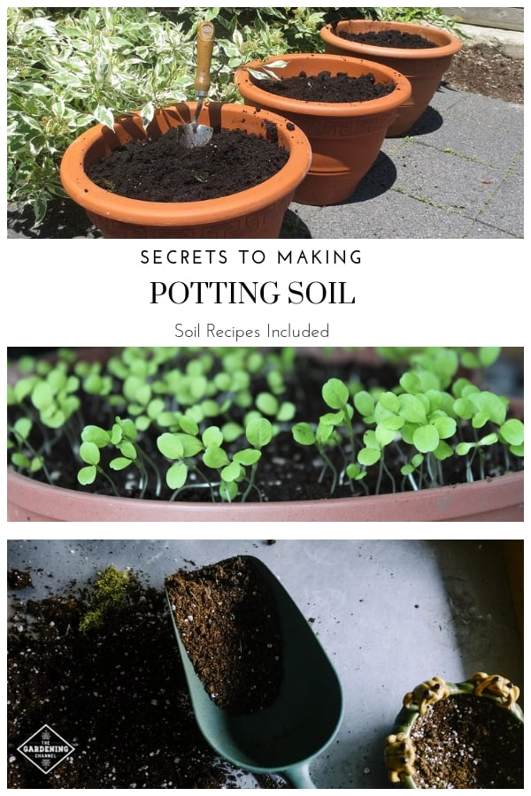 potting soil in planters seed starter mix and potting soil with text overlay secrets to making potting soil soil recipes included