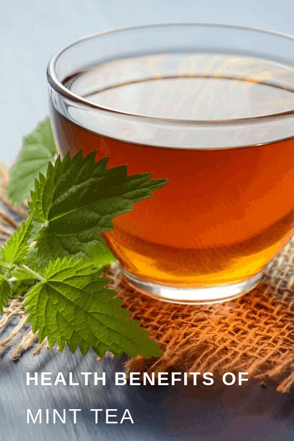 mint tea in tea cup with text overlay health benefits of mint tea