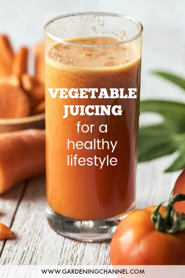 tomato and carrot juice with text overlay vegetable juicing for a healthy lifestyle