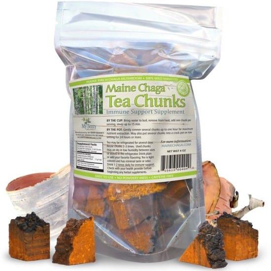 mushroom tea using chaga mushroom chunks