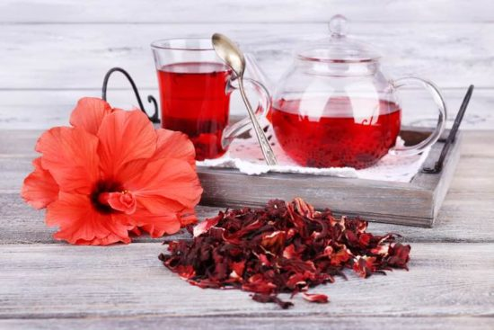 hibiscus tea and flowers