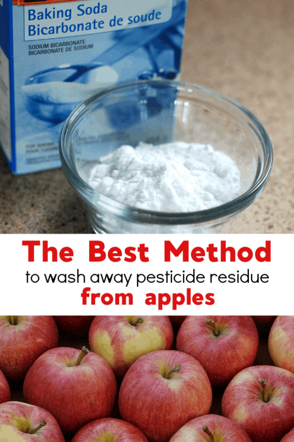 baking soda and harvested apples with text overlay the best method to wash away pesticide residue from apples
