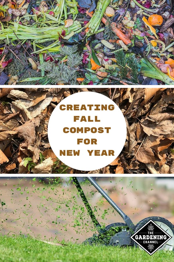 food and plant scraps leaves grass clippings with text overlay creating fall compost for new year