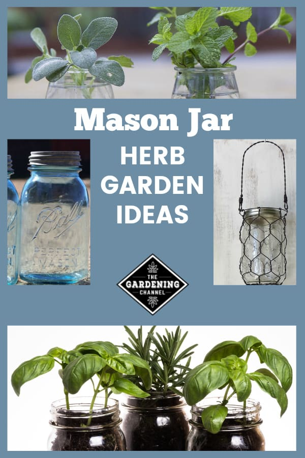 indoor kitchen garden and mason jar examples with text overlay mason jar herb garden ideas