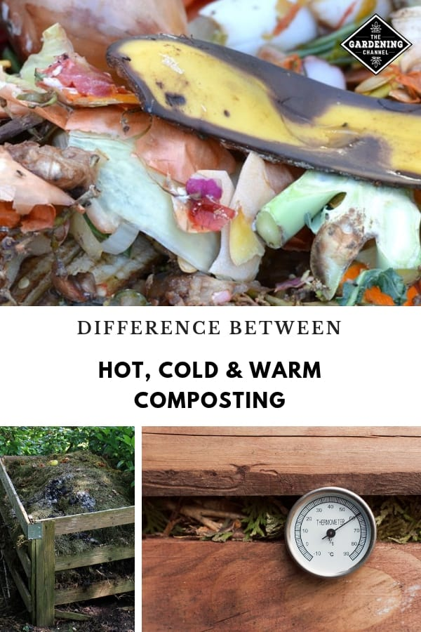 compost ingredients compost bin compost thermometer with text overlay difference between hot cold and warm composting
