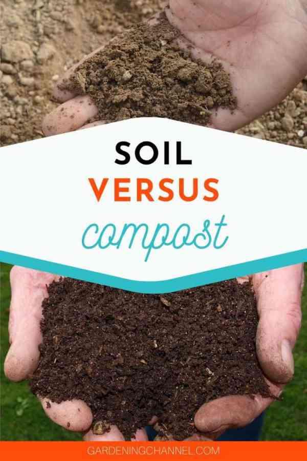 garden soil in hand compost in hands with text overlay soil versus compost
