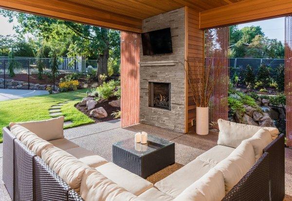 outdoor living room open to yard