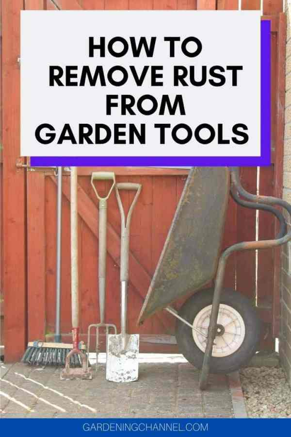 gardening tools with text overlay how to remove rust from garden tools
