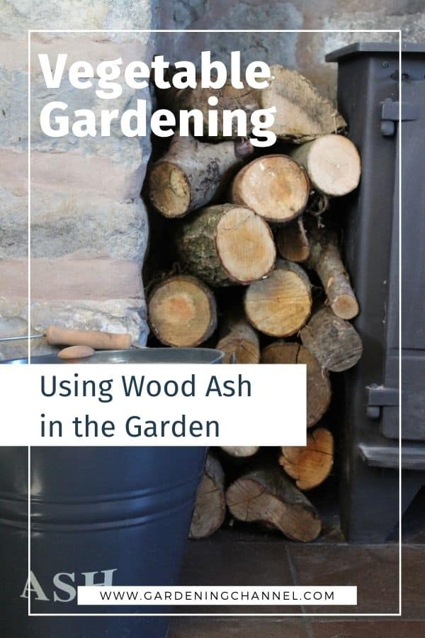 woodstove, wood and ash bucket with text overlay vegetable gardening Using Wood Ash in the Garden
