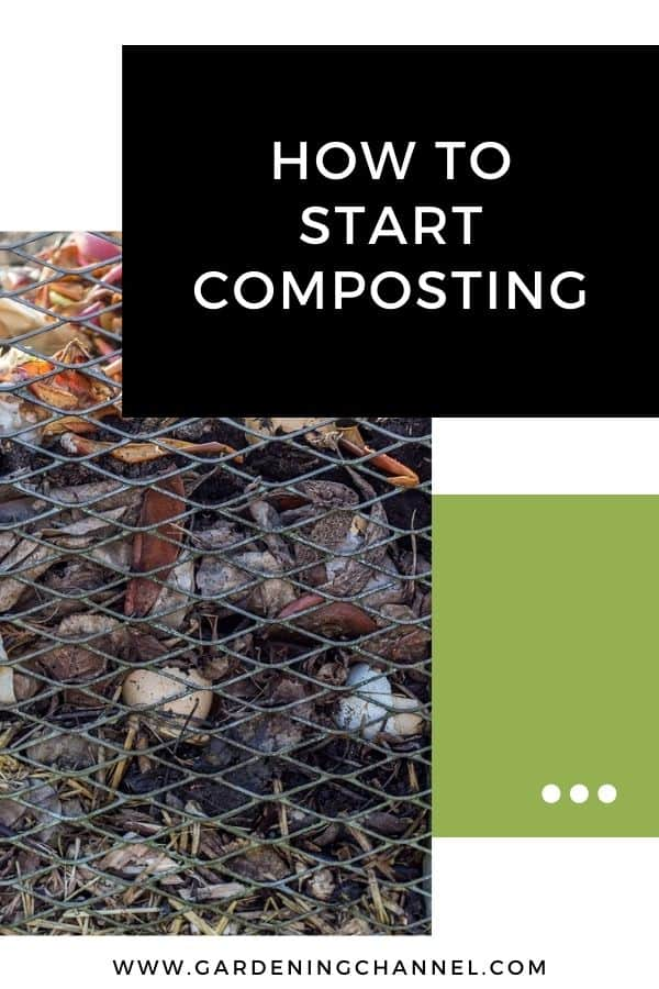 compost pile with text overlay how to start composting