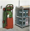 Picture of the brill Evolution petrol lawn mower in storage