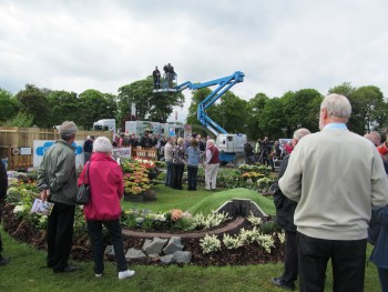 Filming takes place for an episode of Beechgrove Garden