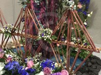 The Forth Rail bridge in a floral display