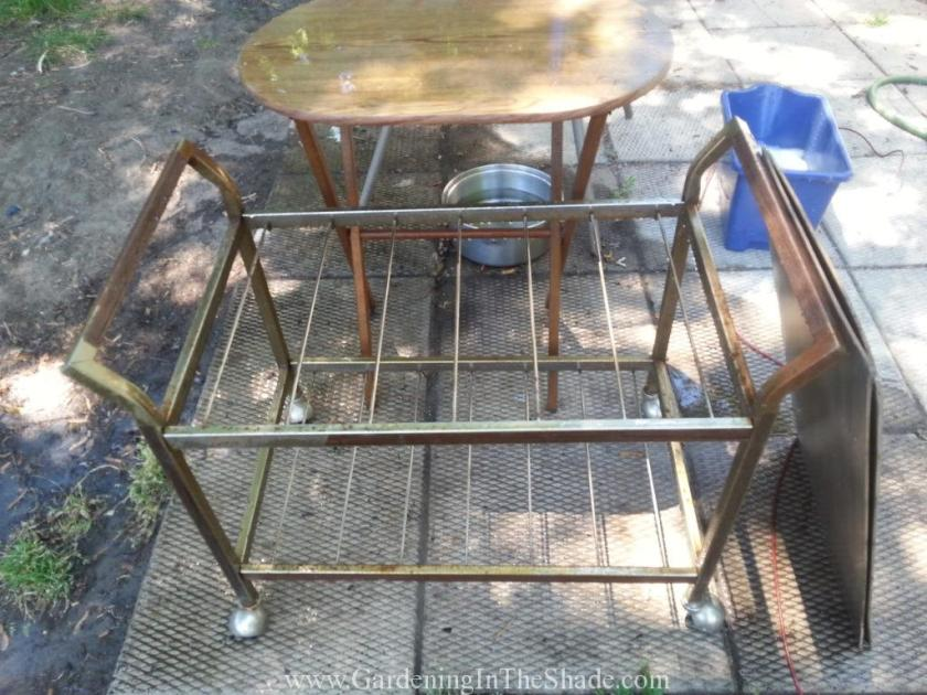 I found this great old rusty TV cart on Saturday and a melamine TV Tray