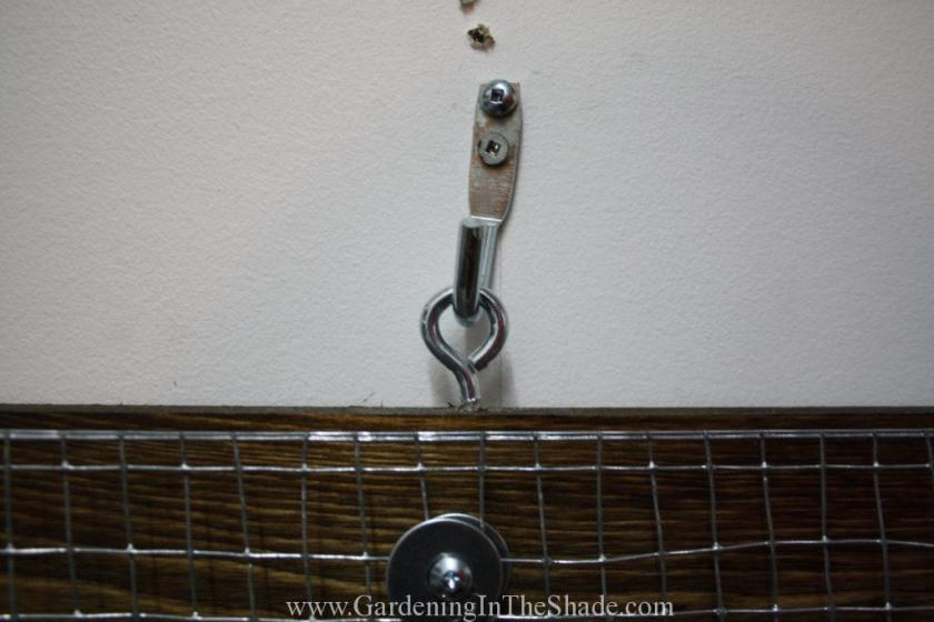 Eye Bolt and Hook to hang Hardware Cloth Pegboard