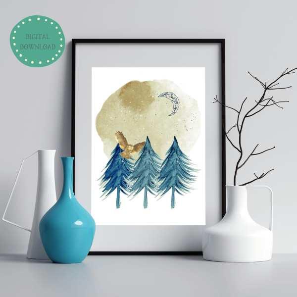 Night Owl Printable Instant Digital Download