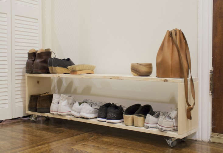 Small Space DIY A Perfect Shoe Rack for a Narrow Entryway