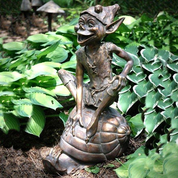 Pixie On A Snail Garden Sculpture  Garden Statues