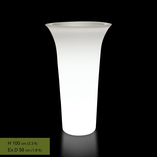 flos lighted tall patio planter