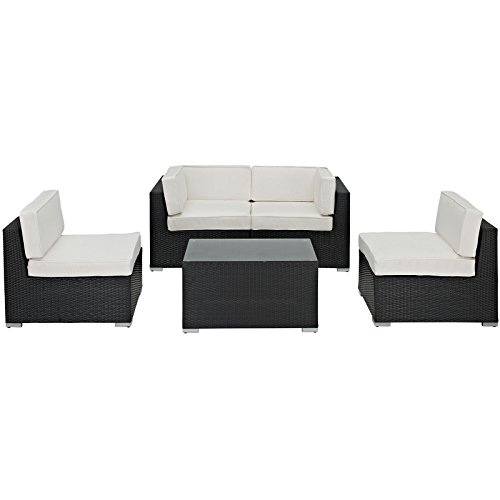 lexmod monterey outdoor wicker rattan sectional sofa set green chesterfield leather best 22 cushions 2018 camfora patio 5 piece in espresso with white