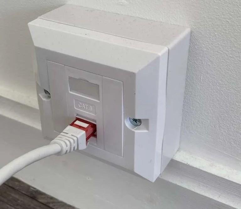 Ethernet internet in a garden office.