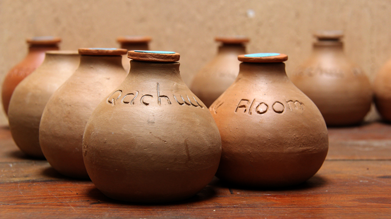 Handmade pots for holding seed varieties.