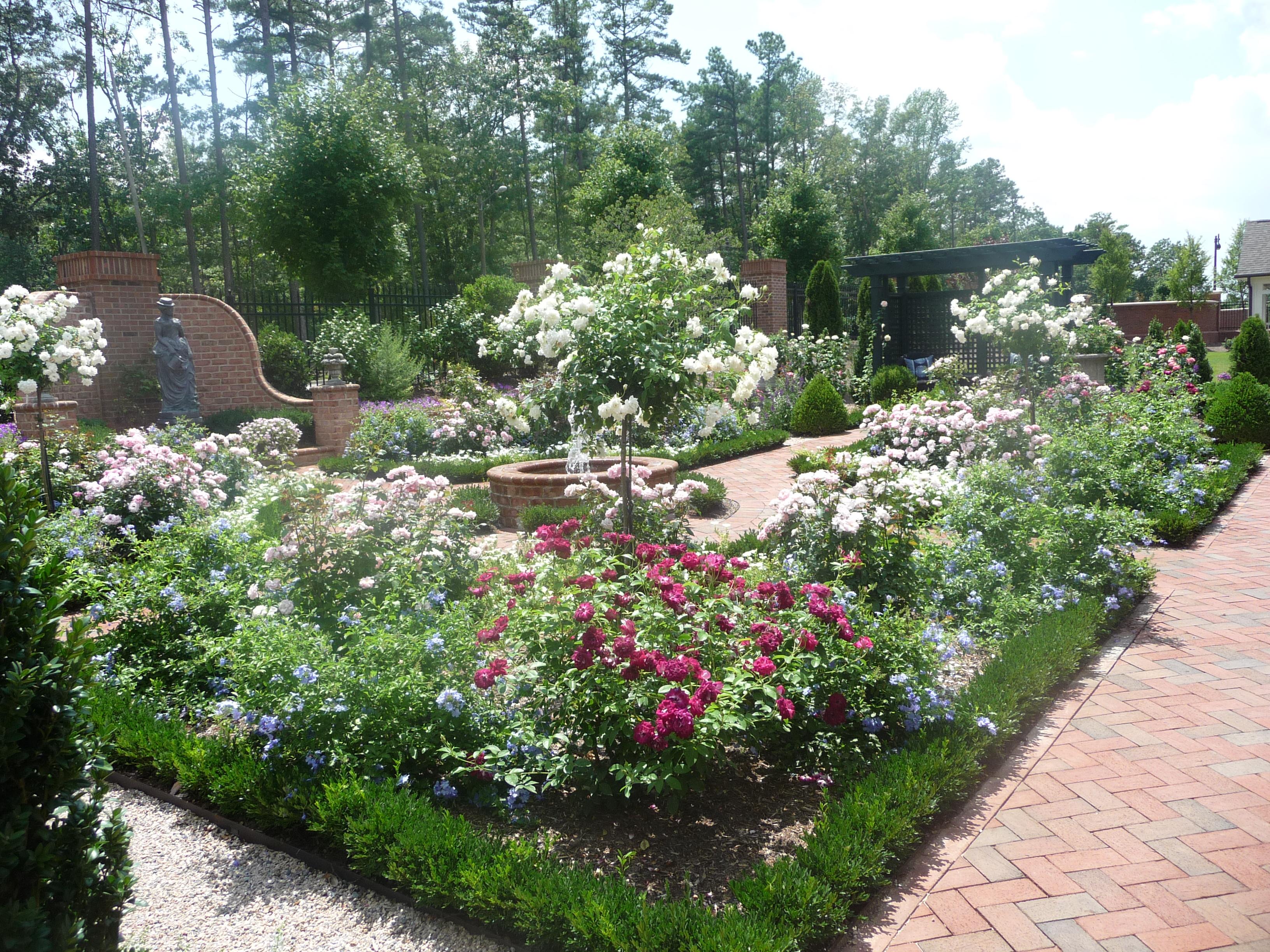 Flower Garden With Water Fountain
