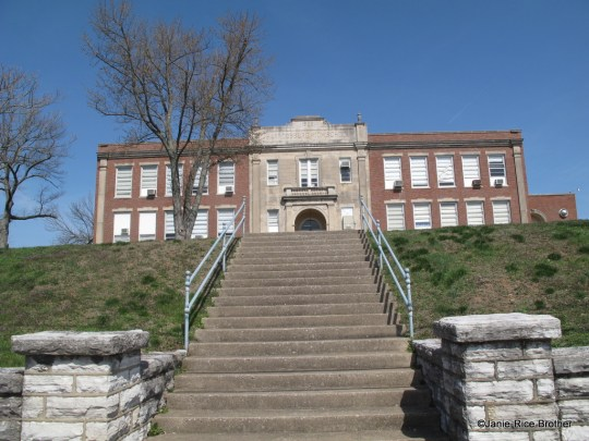 The old Harrodsburg High School in Harrodsburg, Mercer County, Kentucky. Built between 1922-1924, this school is a good example of the Neoclassical and Colonial Revival influences popular in educational construction at the time.
