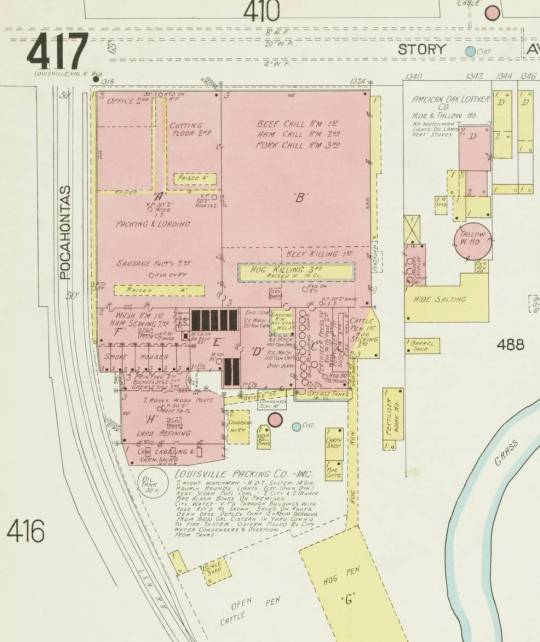 A section of the 1905 Sanborn (sheet 417) showing the site of current JBS Swift plant at 1200 Story Avenue in Butchertown.