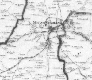 A section of the 1879 Beers & Lanagan Atlas of Montgomery County, Kentucky.