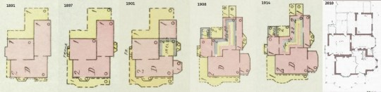 These maps show how the owners modified the original house over the years.