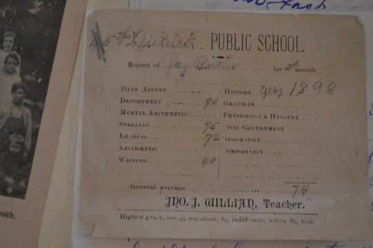 A report card from the Frenchman's Knob School. From the files of the Hart County Historical Society.