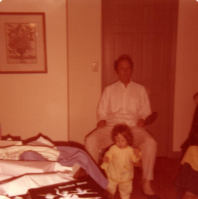 According to non-family members, I inherited my father's smile, and before having three daughters scared the hair off of his head, we also both had lots of dark hair...