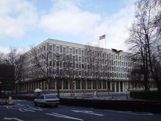 The American Embassy in Grosvenor Square http://en.wikipedia.org/wiki/Embassy_of_the_United_States,_London#mediaviewer/File:US_Embassy_London_view_from_SE.jpg