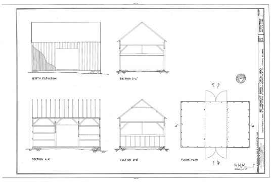 Drawings of a circa 1800 English barn in Delaware, from the Historic American Buildings Survey.