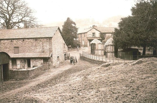 A historic view of Hill Top – the house is at upper right in photo. (postcard sold by the National Trust)