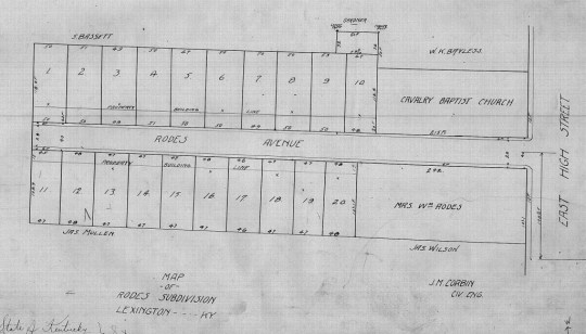The 1908 plat of the new Rodes subdivision in downtown Lexington.