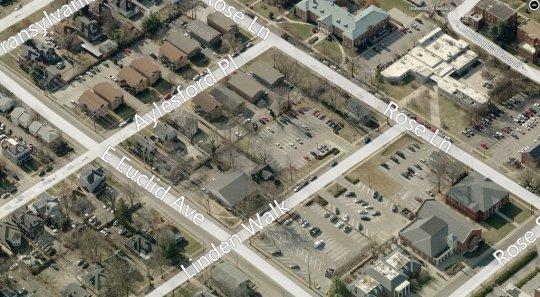 Aerial view of the block prior to the demolition of 408 Linden Walk. Bing Maps image.