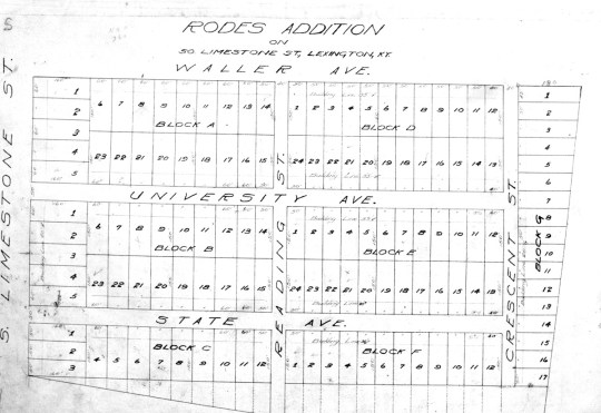 Parcel #3, in the bottom left, was the site of 1041 South Limestone in this plat recorded on July 2, 1914.