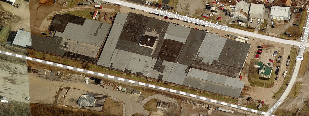 A view of the stockyards from Bing Maps, before the fire.