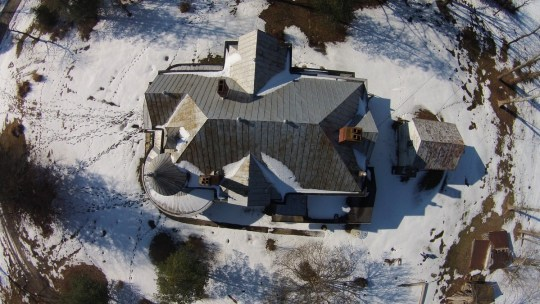 The magic of a drone caught this amazing aerial view of the roofline of the historic house.