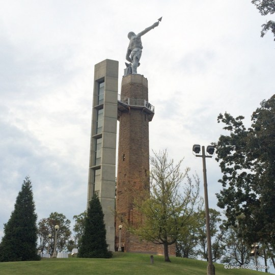 Vulcan (and his famous bare backside) atop his tower in Vulcan Park.