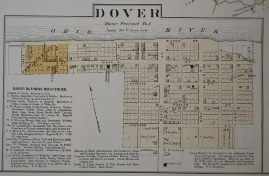 The town of Dover, Kentucky, as depicted in the 1876 Mason County Atlas, prodcued by Lake, Griffing, and Stevenson of Philadelphia.