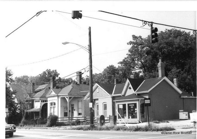 The building in question, circa 1980, in the foreground.