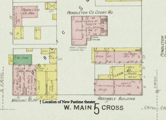 Section of the 1909 Sanborn Fire Insurance Map showing the location of the New Pastime Theater in Falmouth, Kentucky.