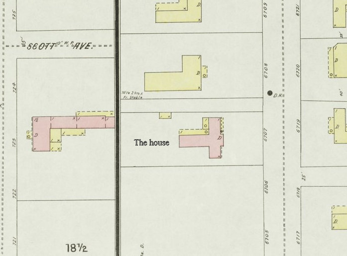 A section of the 1886 Sanborn map showing the property in question.