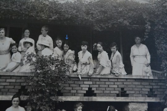 I dsicovered a new photograph of my grandmother at a reunion this past weekend - she and her sister on the 2nd story of a porch, sometime in the second decade of the 20th century.