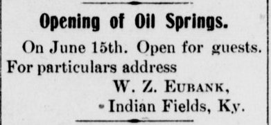 A notice about the forthcoming opening of Oil Springs, in the June 10, 1908 edition of the Mt. Sterling Advocate.